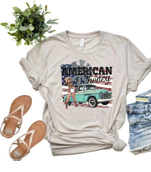 New Arrival :: Wholesale Western American Honey Patriotic Tshirt