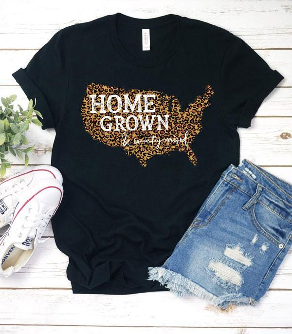 New Arrival :: Wholesale Western Home Grown Leopard USA Tshirt