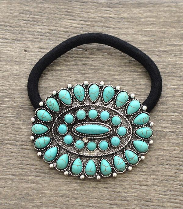 <font color=Turquoise>TURQUOISE JEWELRY</font> :: Wholesale Western Turquoise Hair Tie