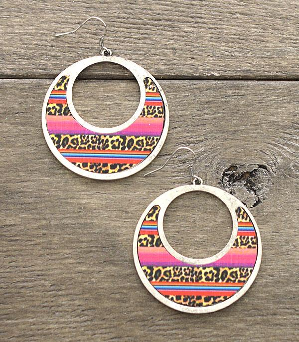 New Arrival :: Wholesale Serape Leopard Circle Earrings