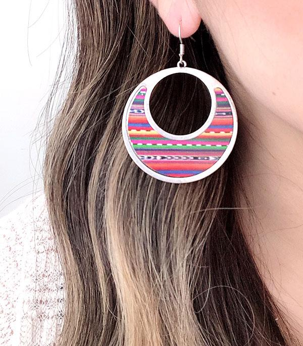 New Arrival :: Wholesale Serape Circle Silver Earrings