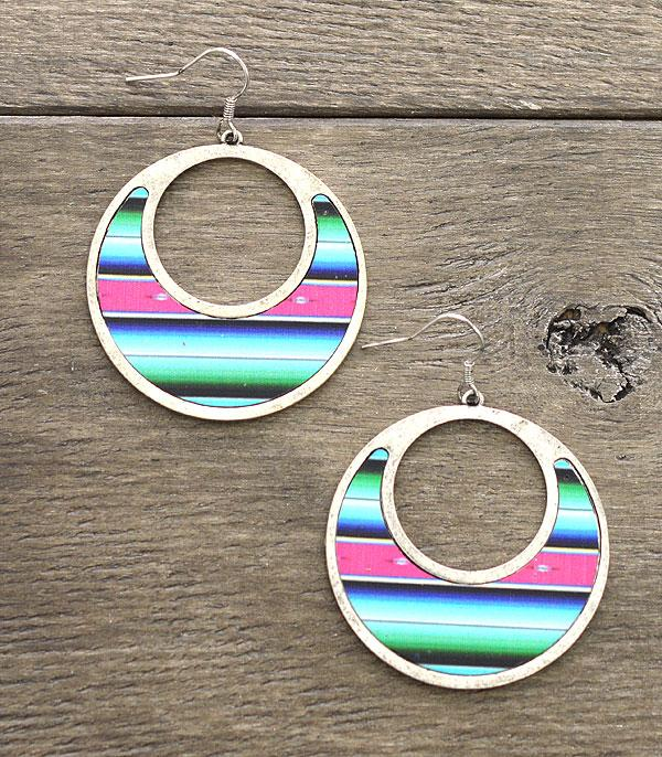 New Arrival :: Wholesale Silver Serape Round Earrings