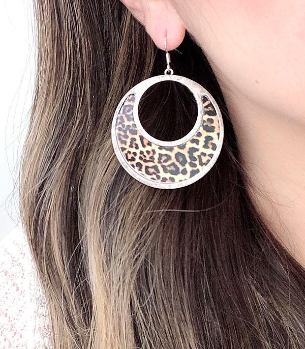 New Arrival :: Wholesale Leopard Silver Circle Earrings