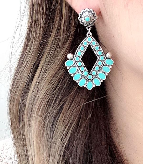 New Arrival :: Wholesale Western Turquoise Concho Epoxy Earrings