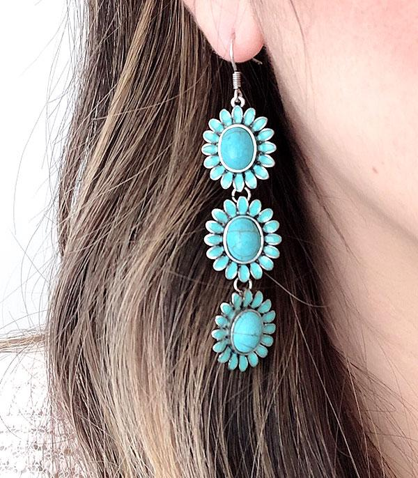 New Arrival :: Wholesale Turquoise Concho Drop Earrings