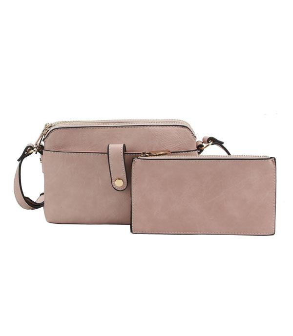 New Arrival :: Wholesale Soft Faux Leather Crossbody Set Bag