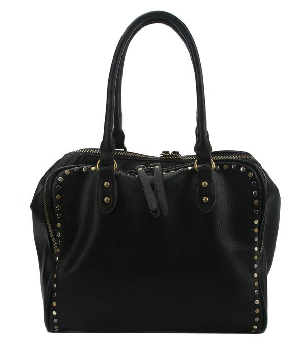 New Arrival :: Wholesale Soft Faux Leather Studded Satchel
