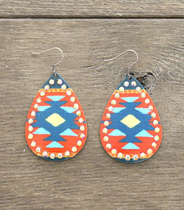 New Arrival :: Wholesale Western Aztec Tear Drop Earrings