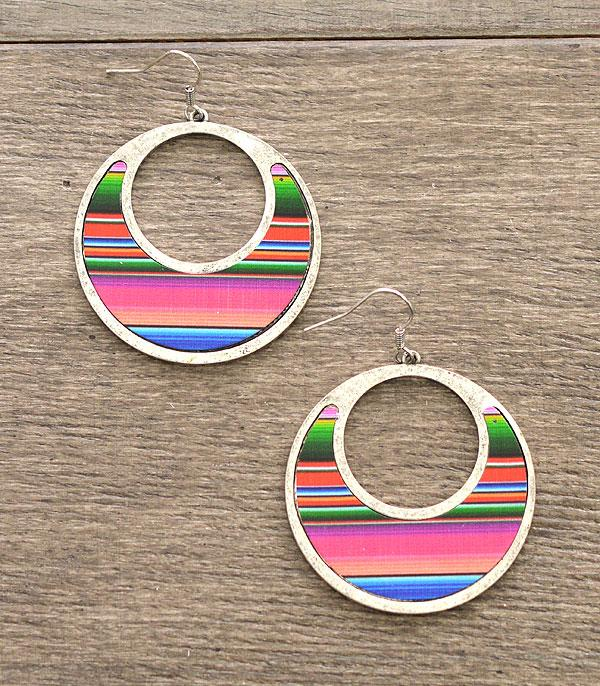 New Arrival :: Wholesale Serape Western Circle Earrings