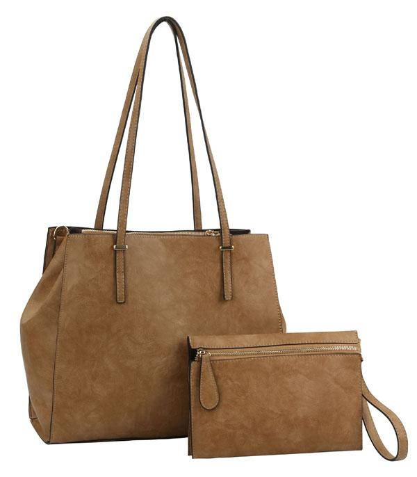 New Arrival :: Wholesale Faux Leather Classic Tote Set Bag