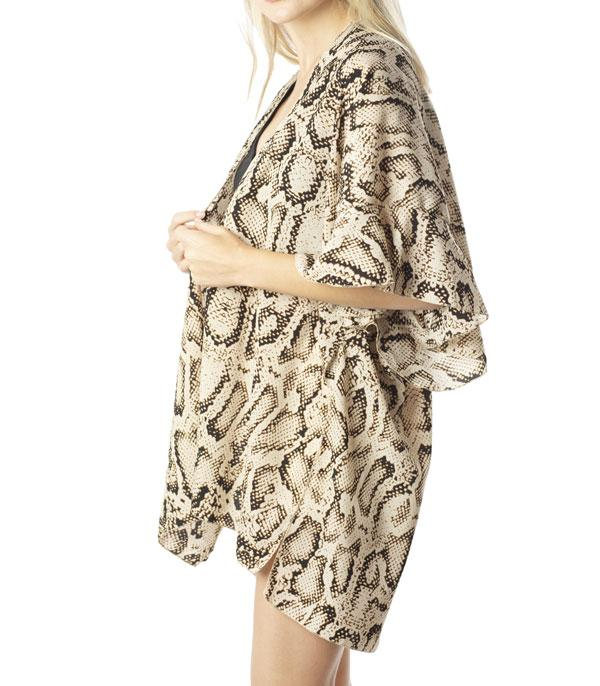 New Arrival :: Wholesale Snakeskin Print Kimono Cover UP