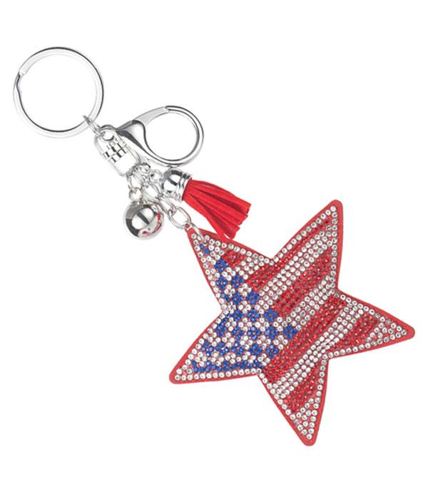 New Arrival :: Wholesale Bling Stone American Flag Keychain