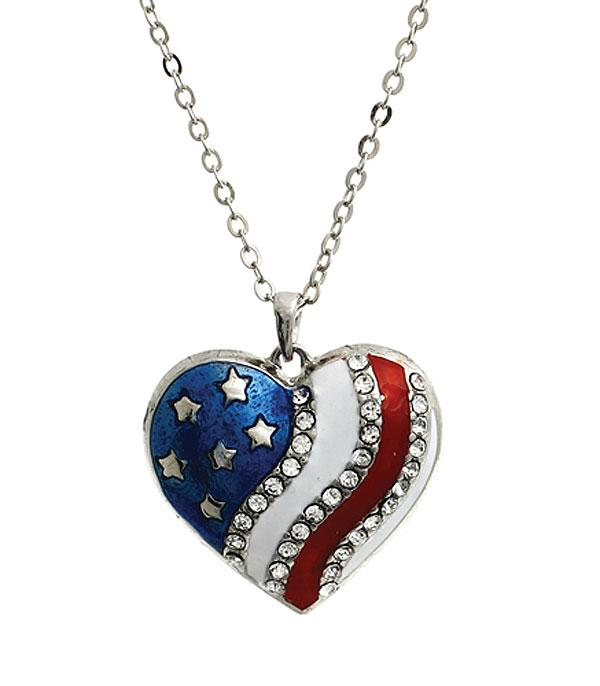 New Arrival :: Wholesale American Flag Patriotic Heart Necklace