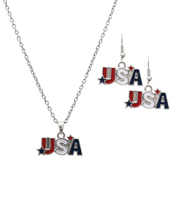 New Arrival :: Wholesale USA Patriotic Necklace Set