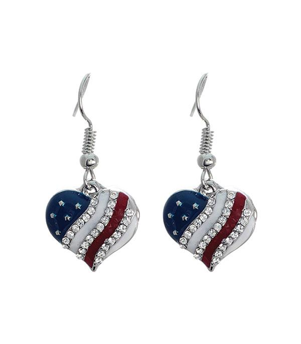 New Arrival :: Wholesale USA Patriotic Heart Earrings