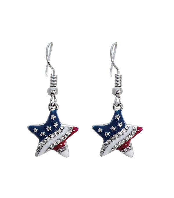 New Arrival :: Wholesale American Flag Patriotic Star Earrings