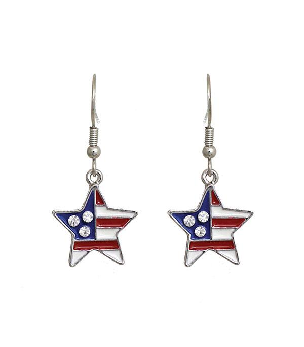 New Arrival :: Wholesale USA Patriotic Star Earrings