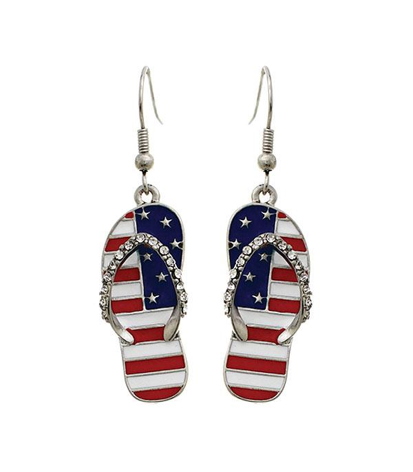 New Arrival :: Wholesale USA Patriotic Flip Flops Dangle Earrings