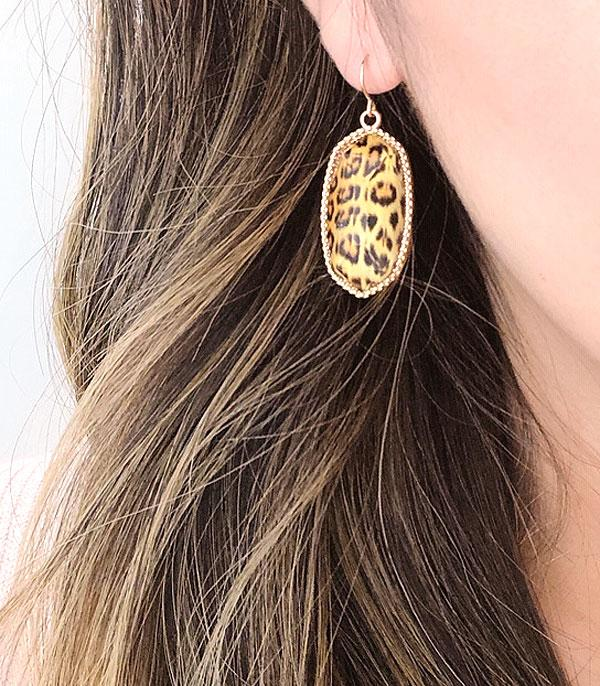New Arrival :: Wholesale Leopard Resin Dangle Earrings