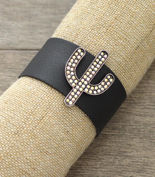 New Arrival :: Wholesale Cactus Rhinestone Leather Bracelet
