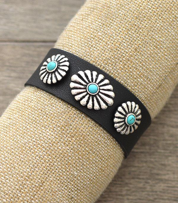 New Arrival :: Wholesale Turquoise Concho Leather Bracelet