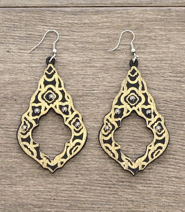 New Arrival :: Wholesale Wooden Quatrefoil Cut Out Earrings