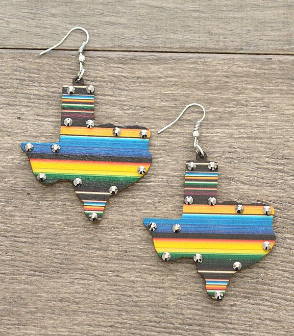 New Arrival :: Wholesale Serape Texas Map Wooden Earrings