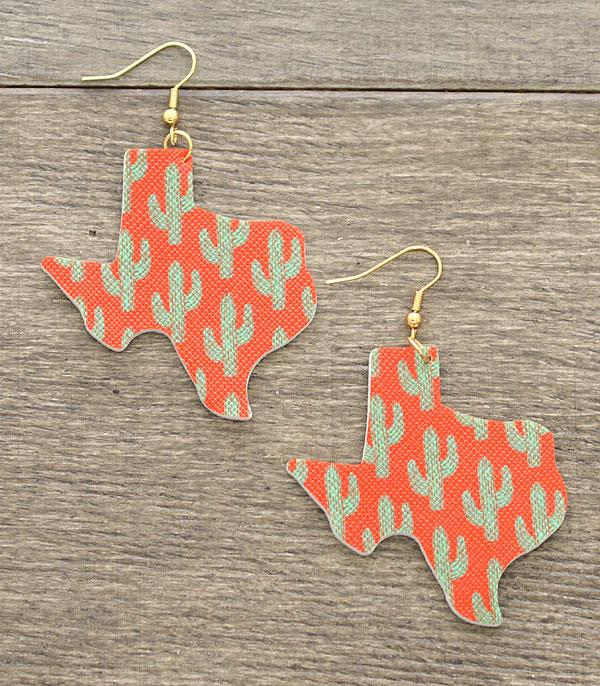 New Arrival :: Wholesale Cactus Print Texas Map Earrings