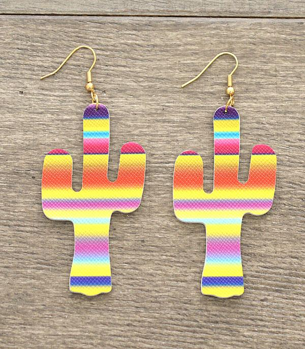 New Arrival :: Wholesale Serape Print Cactus Earrings