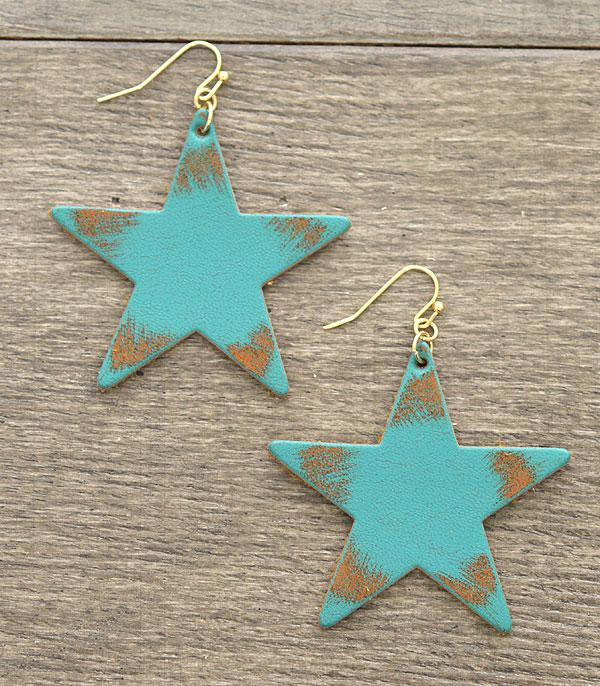 New Arrival :: Wholesale Star Vintage Leather Earrings