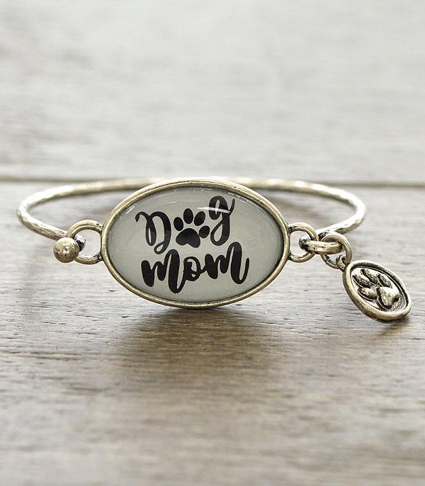 New Arrival :: Wholesale Dog Mom Glass Top Silver Bracelet