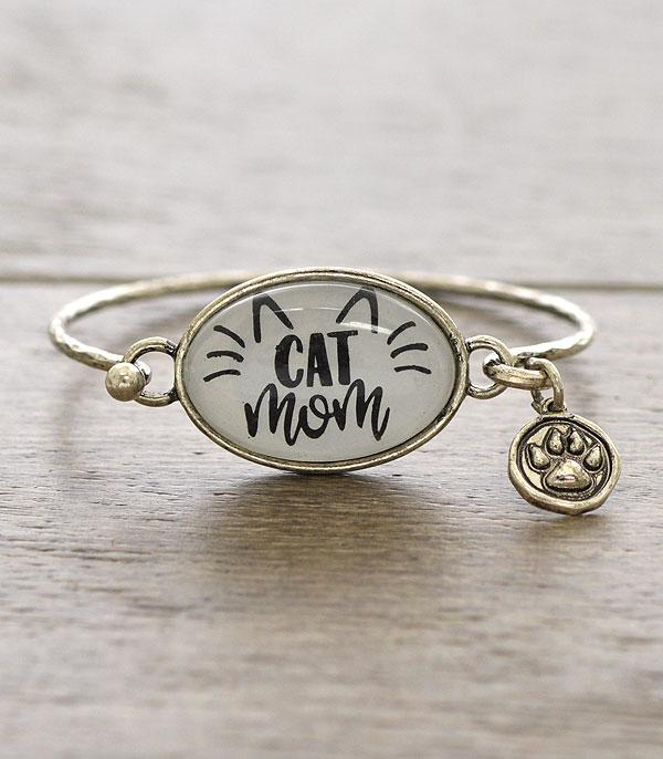 New Arrival :: Wholesale Cat Mom Glass Top Silver Bracelet
