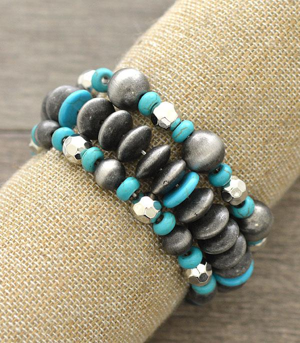 <font color=Turquoise>TURQUOISE JEWELRY</font> :: Wholesale Navajo Pearl Beads Layered Bracelet