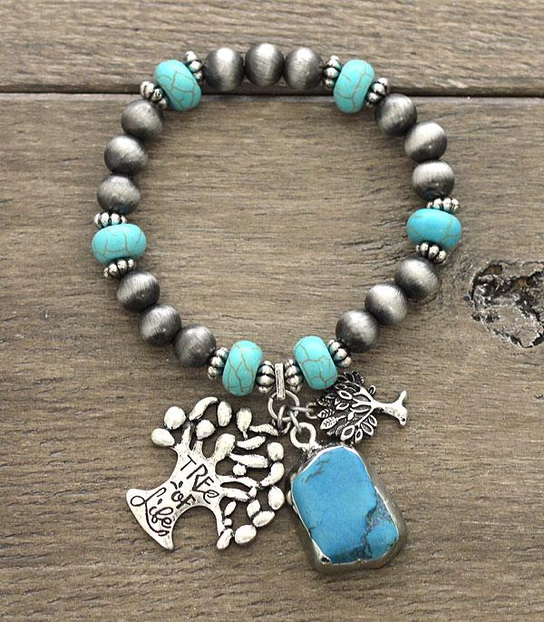 New Arrival :: Wholesale Turquoise Tree Of Life Charm Bracelet