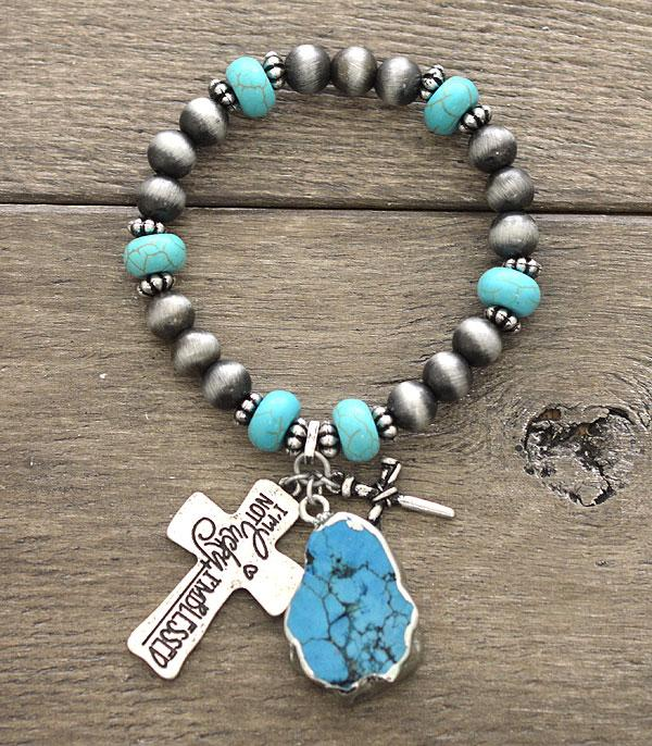 New Arrival :: Wholesale Turquoise Cross Charm Bracelet