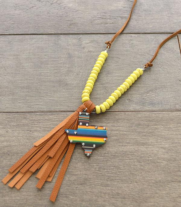 New Arrival :: Wholesale Serape Texas Map Necklace