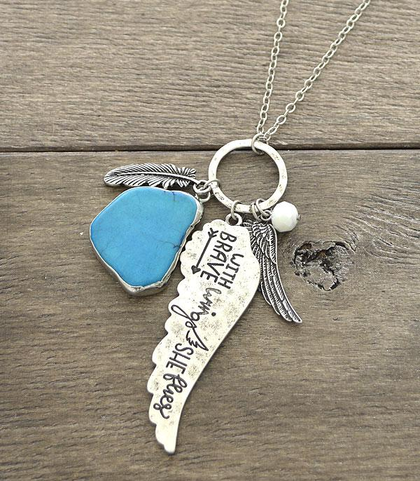 New Arrival :: Wholesale Wing Inspirational Charm Necklace