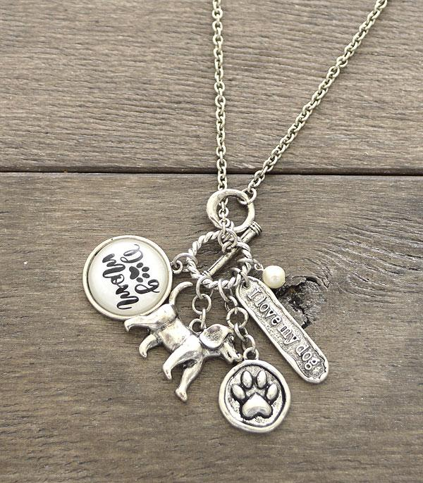 New Arrival :: Wholesale Glass Top Dog Mom Charm Necklace