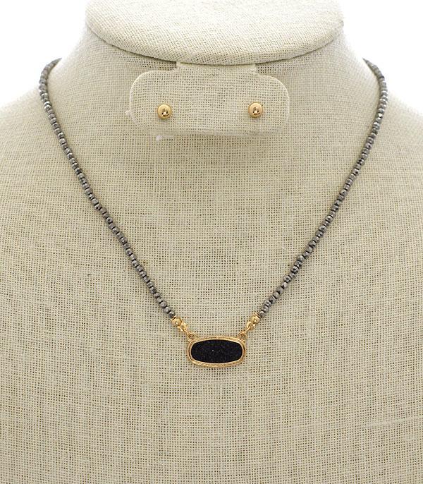 Wholesale Handbag Fashion Jewelry Whats New Nek5328htbk Wholesale Druzy Designer Inspired Necklace At Yktrading Com