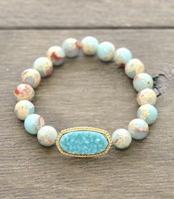 <font color=Turquoise>TURQUOISE JEWELRY</font> :: Wholesale Druzy Stone Designer Inspired Bracelet