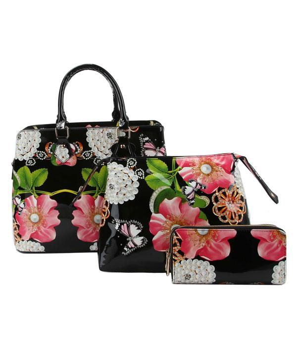 New Arrival :: Wholesale 2 In 1 Flower Butterfly Print Set Bags