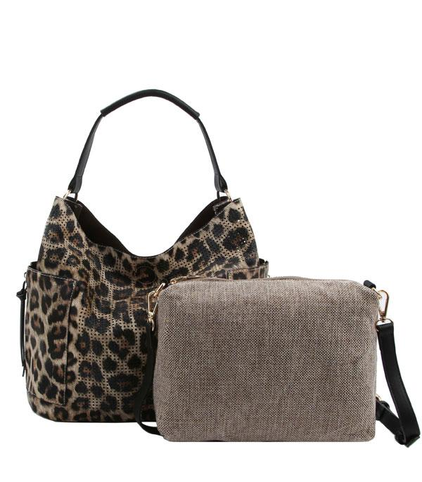 New Arrival :: Wholesale 2 IN 1 Leopard Print Set Bag