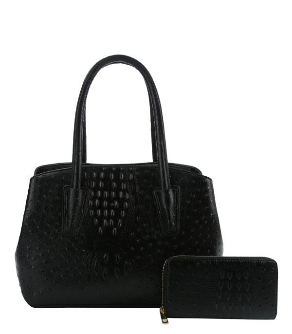 New Arrival :: Wholesale Ostrich Croc Satchel Wallet Set
