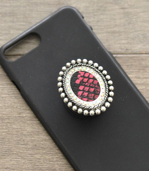 PHONE ACCESSORIES :: Wholesale Western SnakeSkin Concho Adhesive Charm