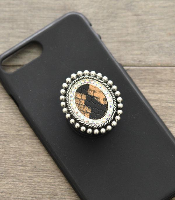 PHONE ACCESSORIES :: Wholesale Western SnakeSkin Concho  Adhesive  Char