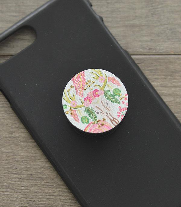 New Arrival :: Wholesale Floral Steerhead Phone Adhesive Charm