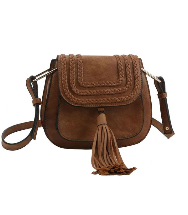 New Arrival :: Wholesale Tassel Accent Braided Crossbody Bag