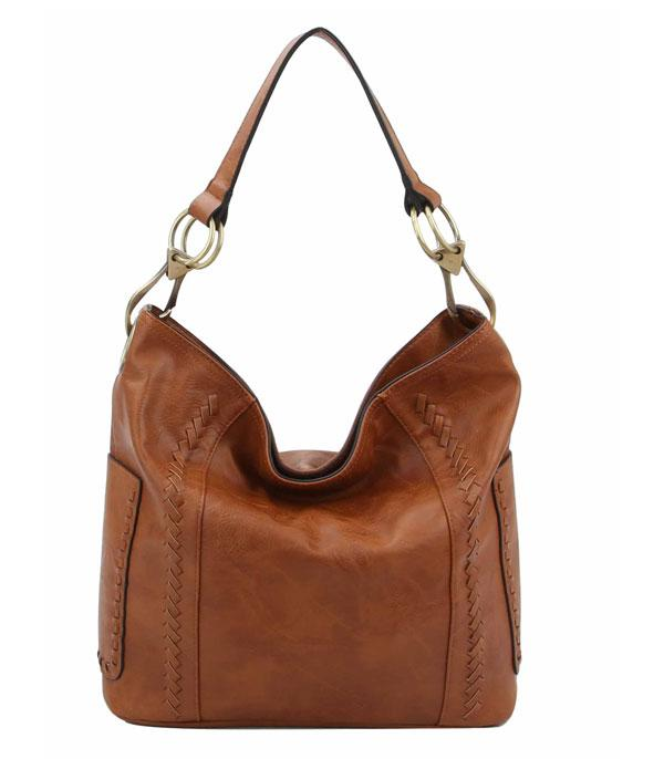 New Arrival :: Wholesale Whipstitched Faux Leather Hobo Bag