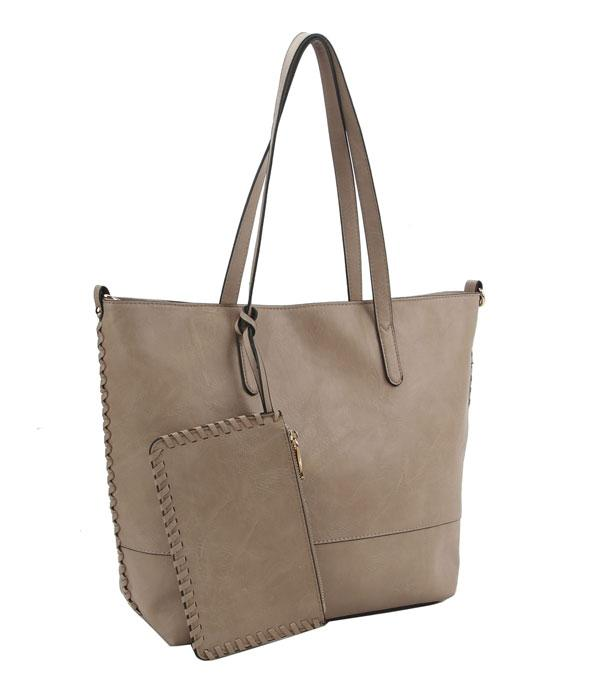 New Arrival :: Wholesale Whipstitched Faux Leather Tote