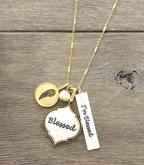 New Arrival :: Wholesale Blessed Charm Silver Gold Necklace